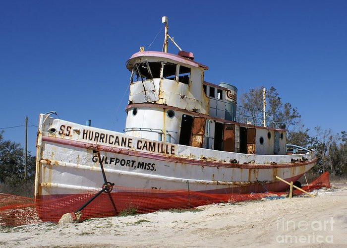 Ship Greeting Card featuring the photograph S.s. Hurricane Camille by Debbie May