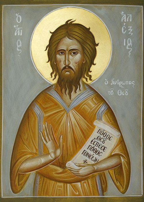 Icon Greeting Card featuring the painting St Alexios The Man Of God by Julia Bridget Hayes