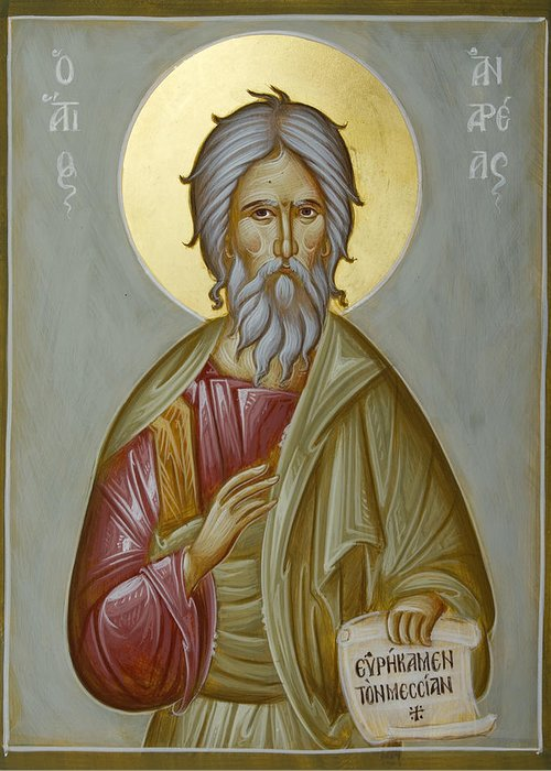 Icon Greeting Card featuring the painting St Andrew The Apostle And First-called by Julia Bridget Hayes