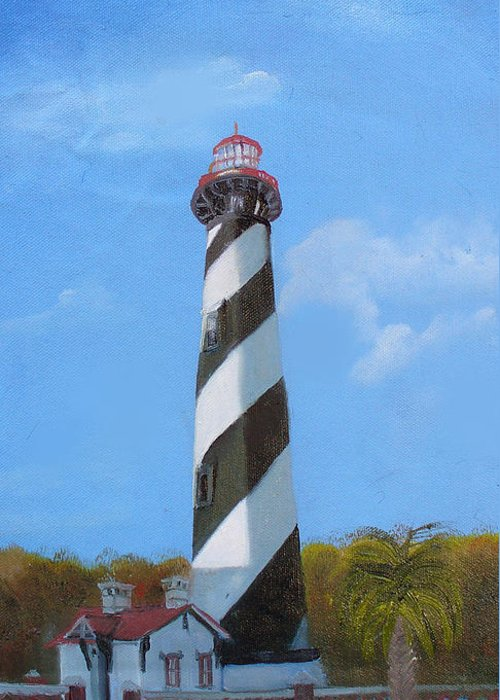 Lighthouse Greeting Card featuring the painting St Augusstine Lighthouse by Darlene Green