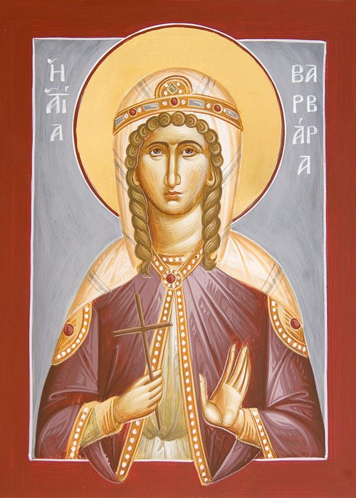 St Barbara Greeting Card featuring the painting St Barbara by Julia Bridget Hayes