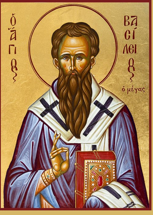 Icon Greeting Card featuring the painting St Basil The Great by Julia Bridget Hayes
