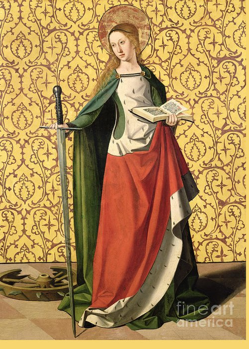 Catherine Greeting Card featuring the painting St. Catherine Of Alexandria by Josse Lieferinxe