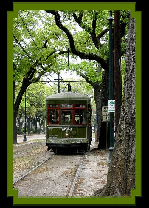 New Orleans Greeting Card featuring the photograph St. Charles Street Car by Linda Kish