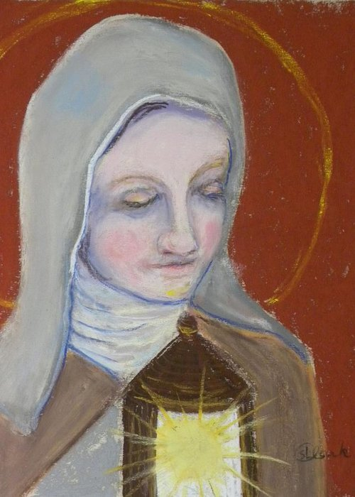 St. Clare Of Assisi Greeting Card featuring the painting St. Clare Of Assisi II by Susan Clark
