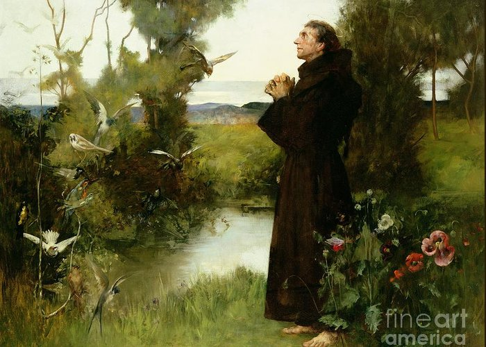 St. Francis Greeting Card featuring the painting St. Francis by Albert Chevallier Tayler