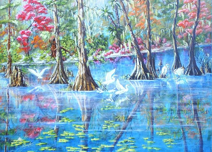 Florida Landscape Greeting Card featuring the painting St. John by Dennis Vebert