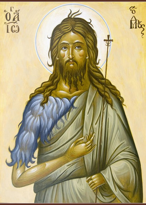 Icon Greeting Card featuring the painting St John The Forerunner by Julia Bridget Hayes