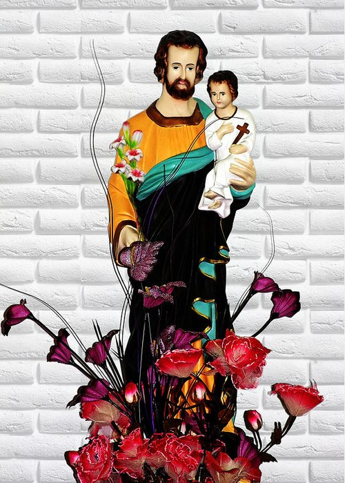 Saint Greeting Card featuring the photograph St Joseph Holding Baby Jesus - Catholic Church Qibao China by Christine Till