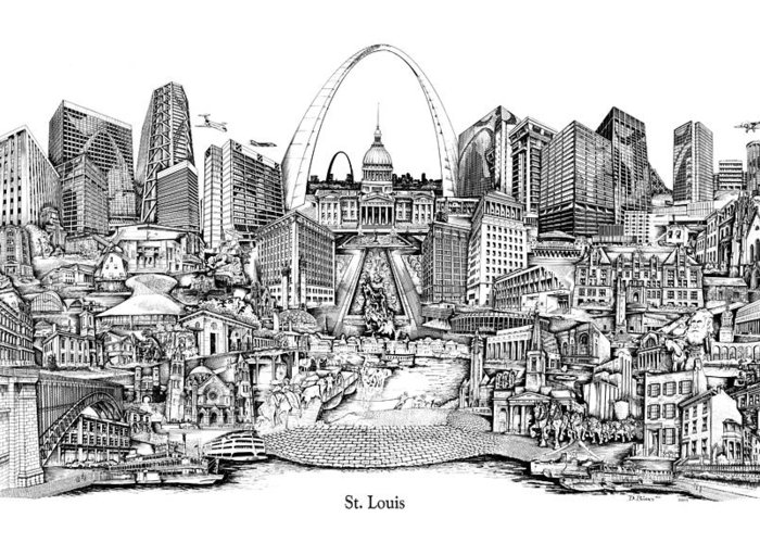 City Drawing Greeting Card featuring the drawing St. Louis 4 by Dennis Bivens