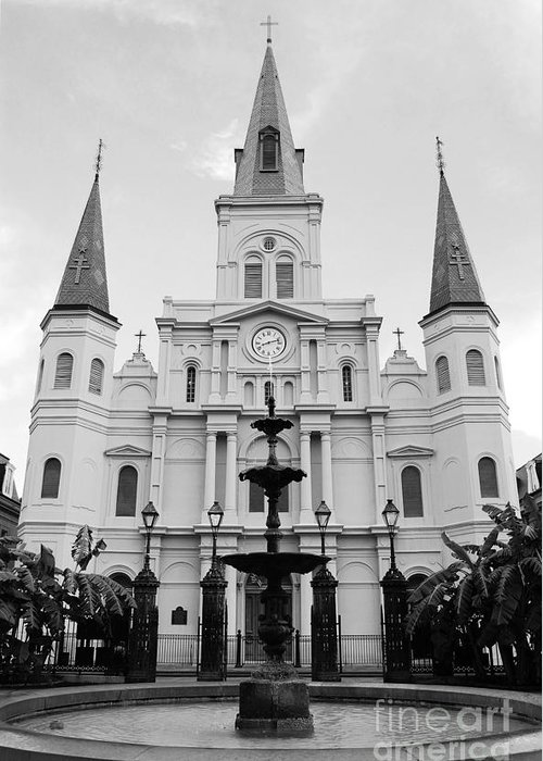 Travelpixpro New Orleans Greeting Card featuring the photograph St Louis Cathedral And Fountain Jackson Square French Quarter New Orleans Black And White by Shawn O'Brien