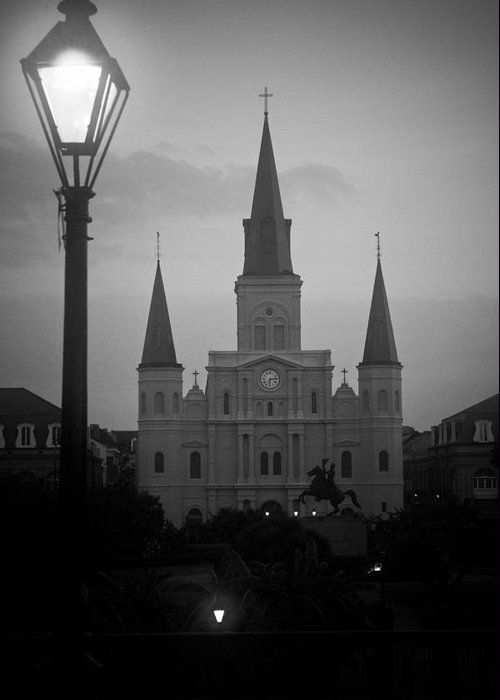 St. Louis Greeting Card featuring the photograph St. Louis Cathedral At Dawn by Daniel Ray