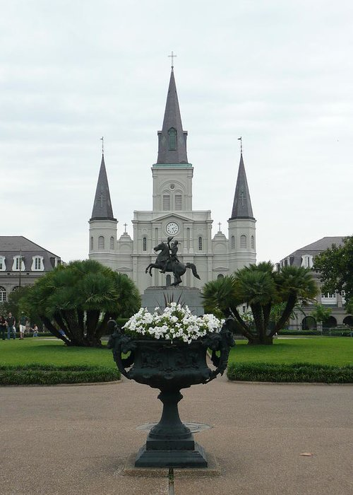 New Orleans Greeting Card featuring the photograph St. Louis Cathedral New Orleans by Kathy Schumann