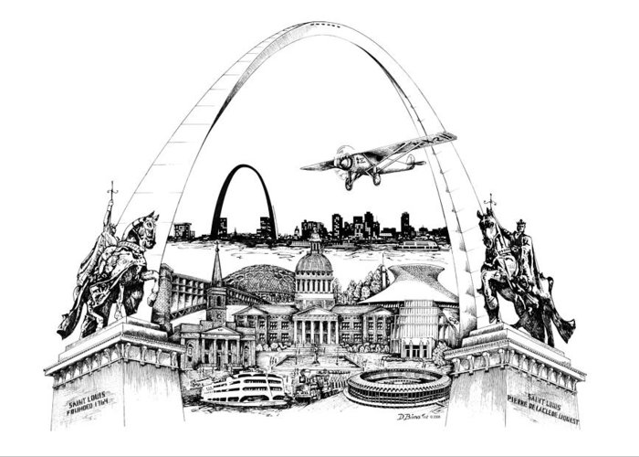 City Drawing Greeting Card featuring the drawing St. Louis Highlights Version 1 by Dennis Bivens