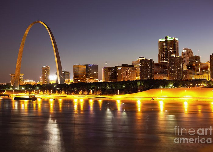 Arch Greeting Card featuring the photograph St Louis Skyline by Bryan Mullennix