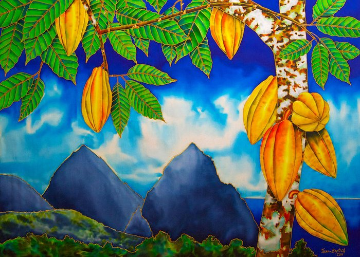 St. Lucia Greeting Card featuring the tapestry - textile St. Lucia Cocoa by Daniel Jean-Baptiste