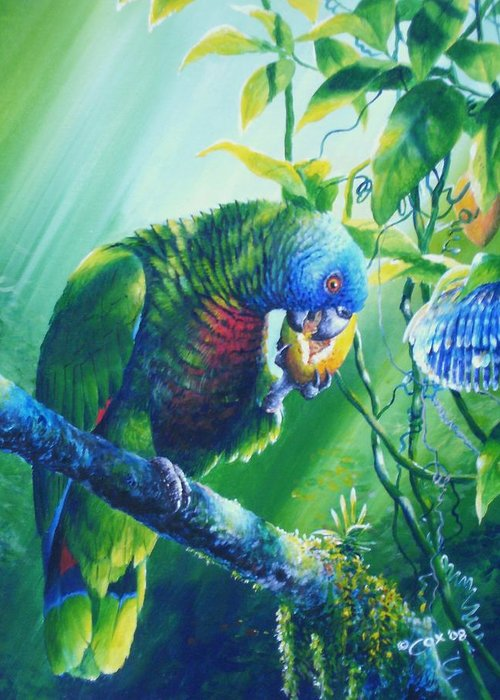 Chris Cox Greeting Card featuring the painting St. Lucia Parrot And Wild Passionfruit by Christopher Cox