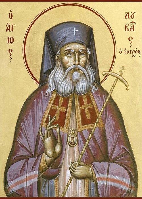 St Luke Of The Surgeon Greeting Card featuring the painting St Luke The Surgeon Of Simferopol by Julia Bridget Hayes