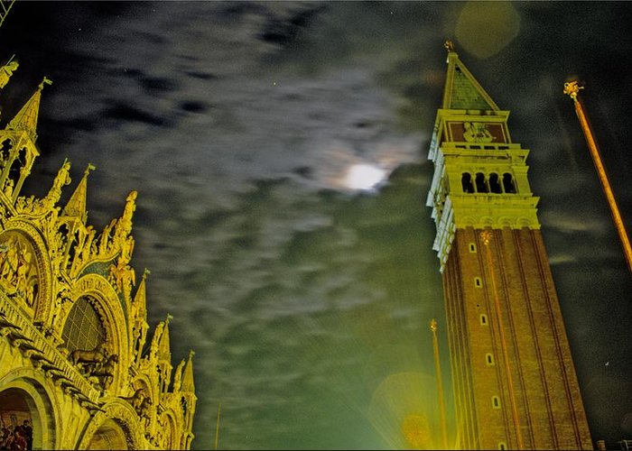 Venice Greeting Card featuring the photograph St. Marks In Venice With Moon And Venus by Michael Henderson
