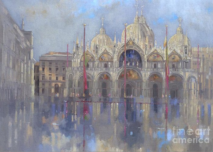 St. Mark's Square; Venice; Venetian Architecture; Italian; Basilica; Saint; Venetian; Facade; Domes; Dome; Rain Greeting Card featuring the painting St Mark's -venice by Peter Miller