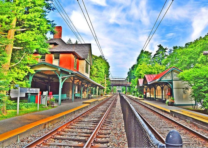 Philadelphia Greeting Card featuring the photograph St. Martins Train Station by Bill Cannon