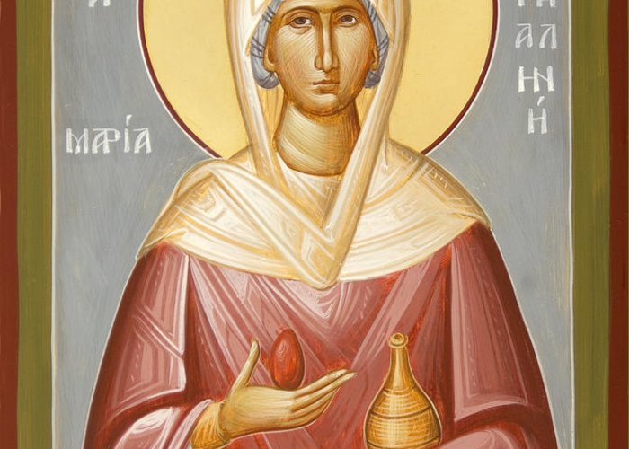 St Mary Magdalene Greeting Card featuring the painting St Mary Magdalene by Julia Bridget Hayes