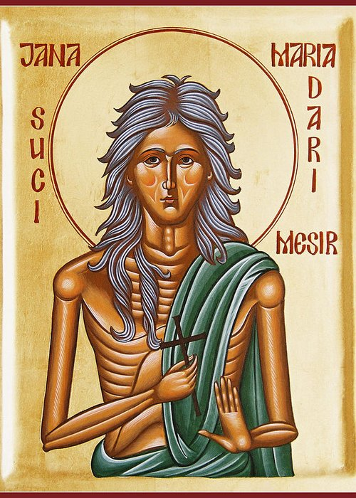 Icon Greeting Card featuring the painting St Mary Of Egypt by Julia Bridget Hayes