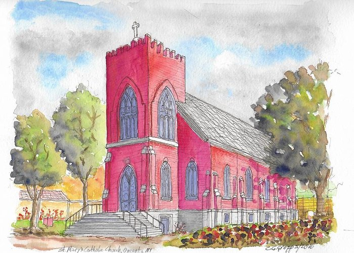 Churchs Greeting Card featuring the painting St. Mary's Catholic Church, Oneonta, Ny by Carlos G Groppa
