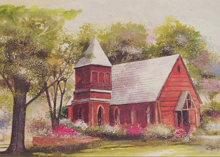 Charles Roy Smith Greeting Card featuring the painting St. Mary's Chapel by Charles Roy Smith