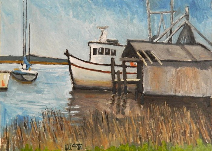 Boat Greeting Card featuring the painting St Mary's Shrimp Boat by Robert Holewinski