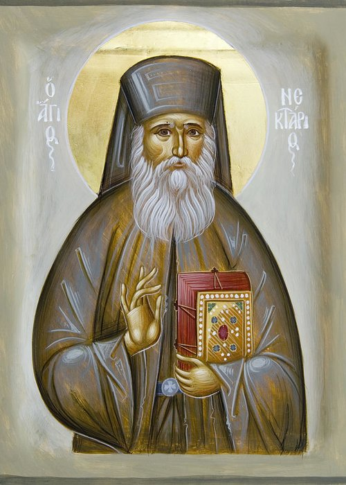 Icon Greeting Card featuring the painting St Nektarios Of Aigina by Julia Bridget Hayes