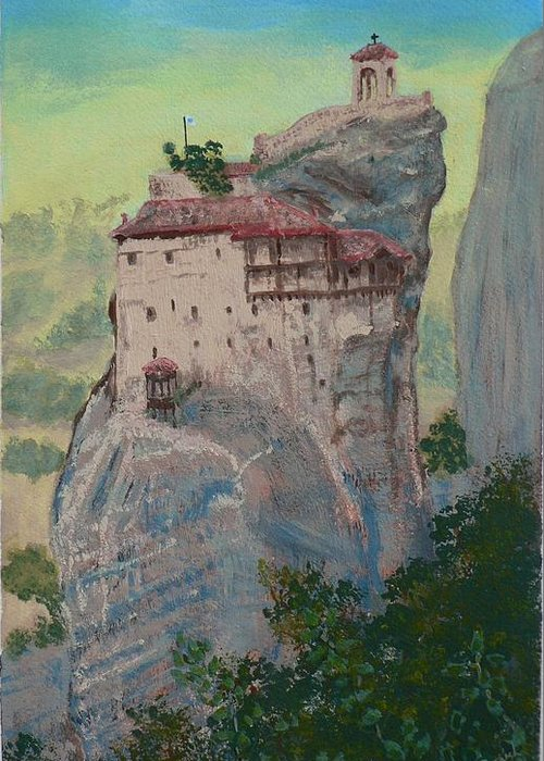 Landscape Greeting Card featuring the painting St Nicholas Anapapsas Monastery - Meteora - Greece by Dan Bozich