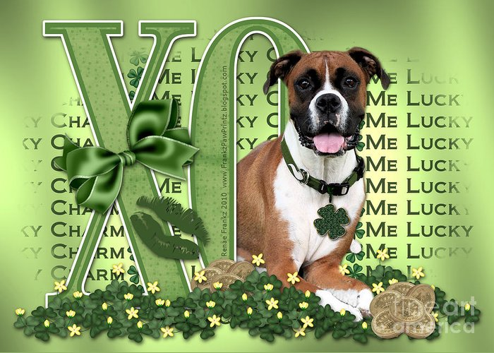Boxer Greeting Card featuring the digital art St Patricks Day - My Boxer Is Me Lucky Charm by Renae Laughner