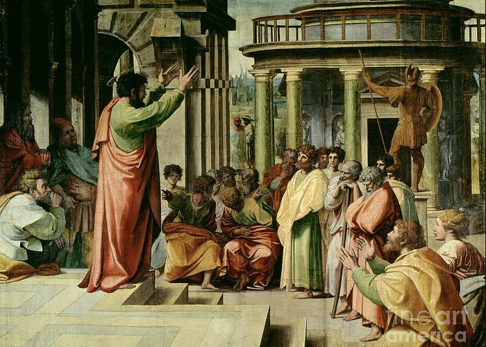 Paul Greeting Card featuring the painting St. Paul Preaching At Athens by Raphael