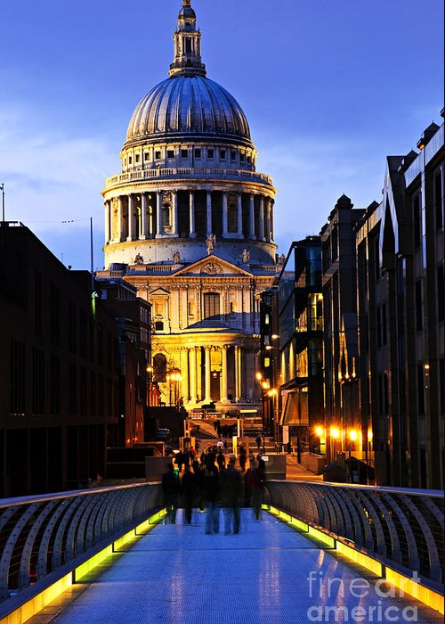 Saint Greeting Card featuring the photograph St. Paul's Cathedral From Millennium Bridge by Elena Elisseeva