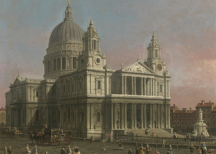 Paul Greeting Card featuring the painting St. Paul's Cathedral by Giovanni Antonio Canaletto
