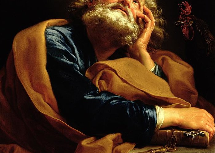 St Peter (oil On Canvas) Saint; Male; Beard; Pensive; Keys Of Heaven; Key; Book; Apostle Greeting Card featuring the painting St Peter by Pompeo Girolamo Batoni