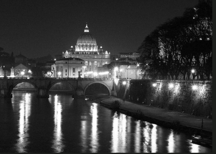 Italy Greeting Card featuring the photograph St. Peters At Night by Donna Corless