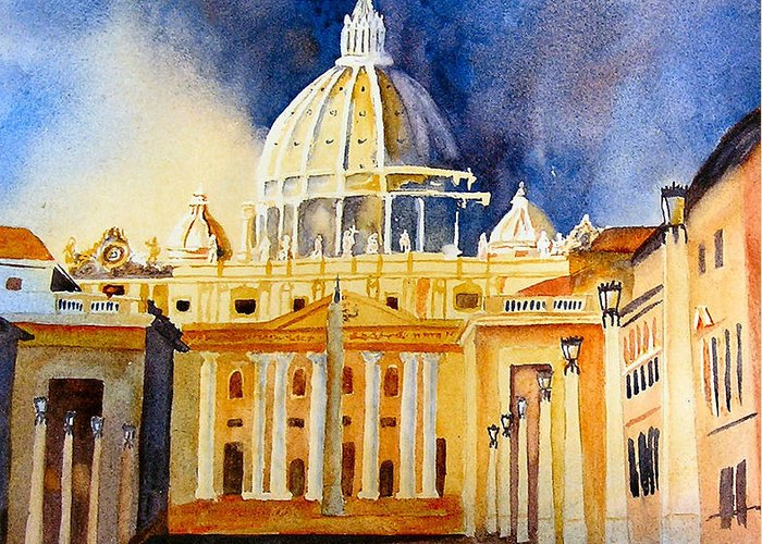 Vatican Greeting Card featuring the painting St. Peters Basilica by Karen Stark
