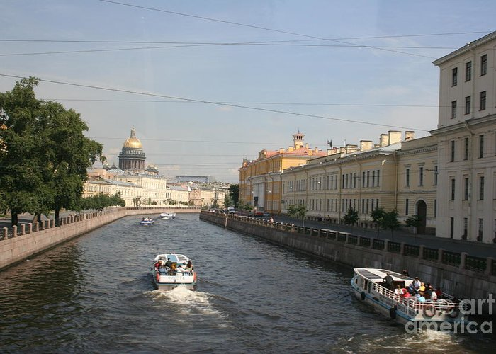 Canal Greeting Card featuring the photograph St. Petersburg Canal - Russia by Christiane Schulze Art And Photography