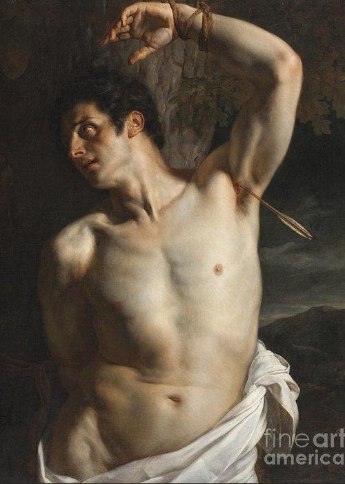 Sebastian Greeting Card featuring the painting St. Sebastian by Hippolyte Paul Delaroche