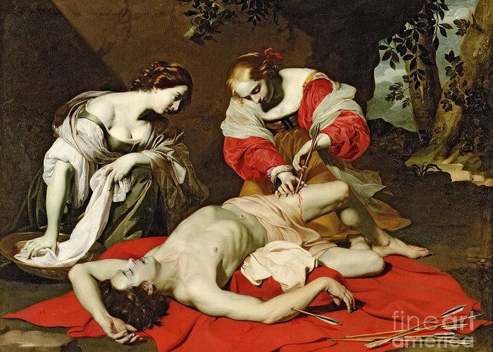 Saint Greeting Card featuring the painting St Sebastian Tended By The Holy Irene by Nicholas Renieri