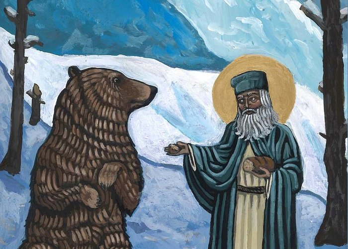 Iconography Greeting Card featuring the painting St. Seraphim and Bear by Kelly Latimore