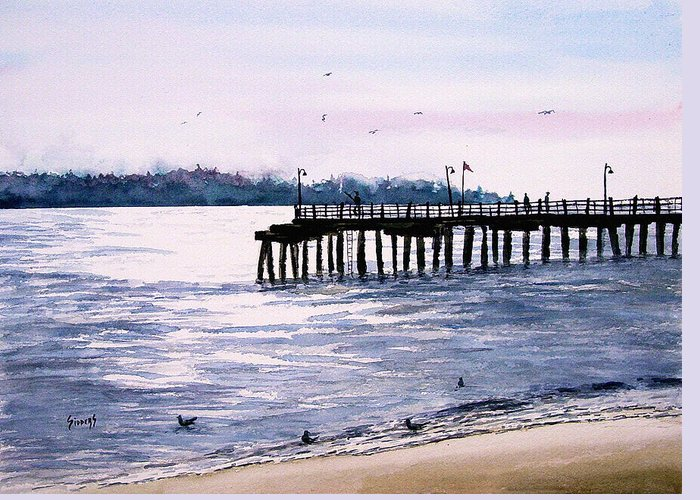 Fishing Greeting Card featuring the painting St. Simons Island Fishing Pier by Sam Sidders