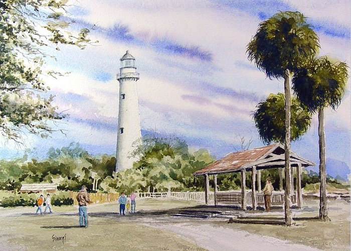 Lighthouse Greeting Card featuring the painting St. Simons Island Lighthouse by Sam Sidders