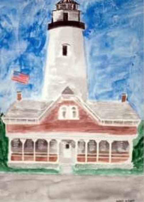 Watercolor Landscape Lighthouse Seascape Painting Greeting Card featuring the painting ST SIMONS LIGHTHOUSE nautical painting print by Derek Mccrea