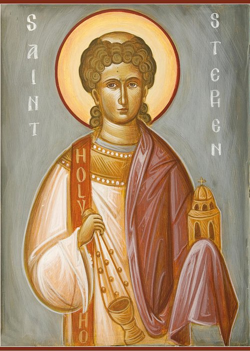 St Stephen Greeting Card featuring the painting St Stephen II by Julia Bridget Hayes
