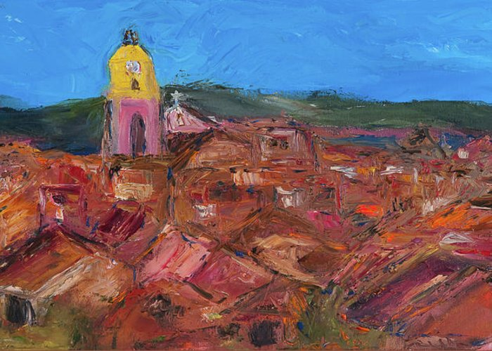 St. Tropez Greeting Card featuring the painting St. Tropez by Dan Castle