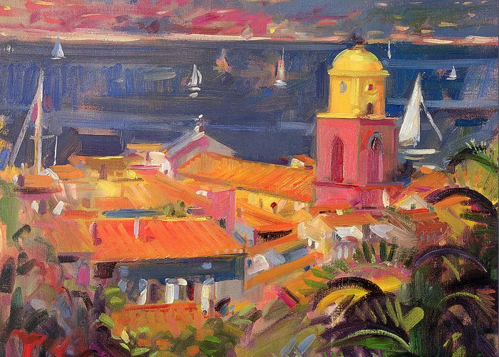 San Greeting Card featuring the painting St Tropez Sailing by Peter Graham