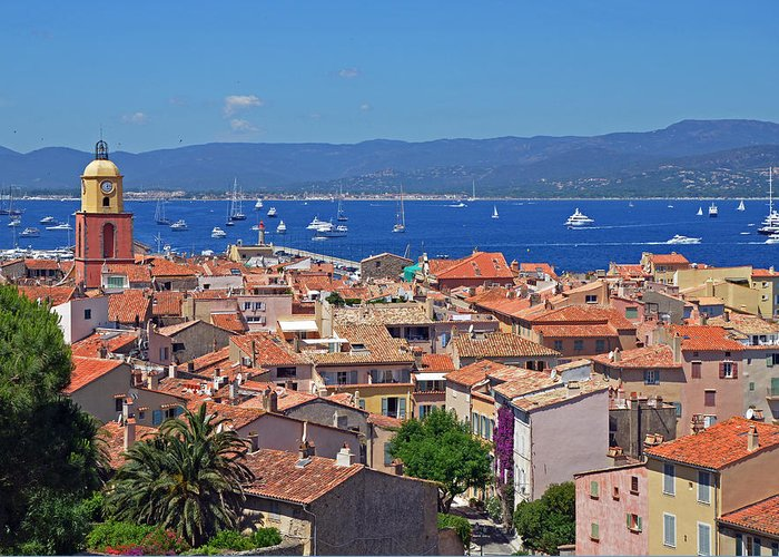 St Tropez Greeting Card featuring the photograph St-tropez Skyline by Corinne Rhode